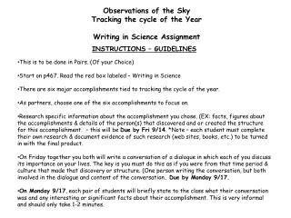 Observations of the Sky Tracking the cycle of the Year Writing in Science Assignment