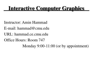Interactive Computer Graphics