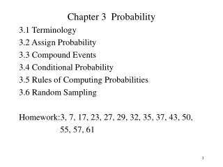 Chapter 3  Probability 3.1 Terminology				 3.2 Assign Probability			 3.3 Compound Events			 3.4 Conditional Probability