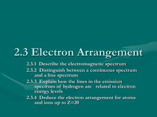 2.3 Electron Arrangement