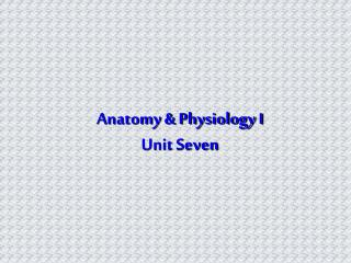 Anatomy & Physiology I Unit Seven