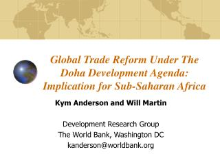 Global Trade Reform Under The Doha Development Agenda: Implication for Sub-Saharan Africa