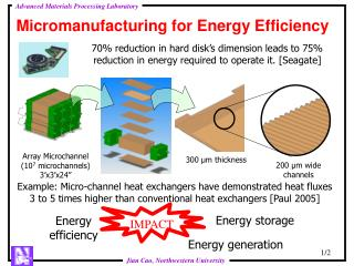 Micromanufacturing for Energy Efficiency