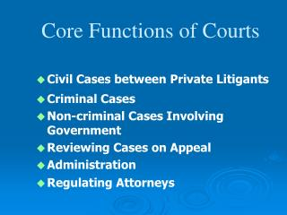 Civil Cases between Private Litigants Criminal Cases Non-criminal Cases Involving Government Reviewing Cases on Appeal A