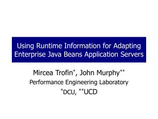 Using Runtime Information for Adapting Enterprise Java Beans Application Servers