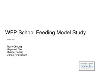 WFP School Feeding Model Study