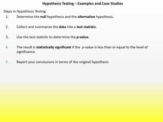 Hypothesis Testing – Examples and Case Studies