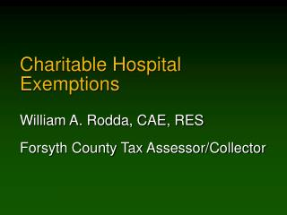 Charitable Hospital Exemptions