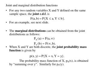 Joint and marginal distribution functions