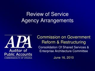 Review of Service  Agency Arrangements