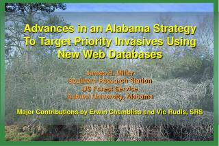 Advances in an Alabama Strategy To Target Priority Invasives Using New Web Databases James H. Miller      Southern Resea