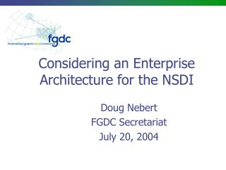 Considering an Enterprise Architecture for the NSDI