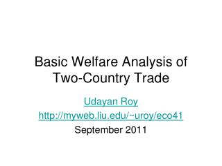 Basic Welfare Analysis of Two-Country Trade