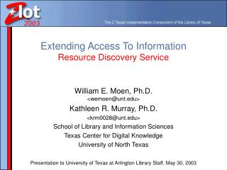 Extending Access To Information Resource Discovery Service