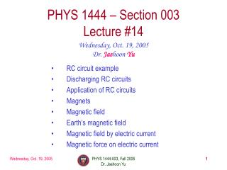 PHYS 1444 – Section 003 Lecture #14