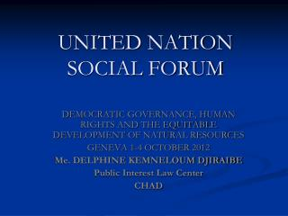 UNITED NATION SOCIAL FORUM