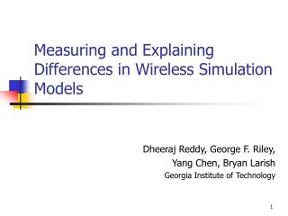 Measuring and Explaining Differences in Wireless Simulation Models