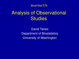 Analysis of Observational Studies