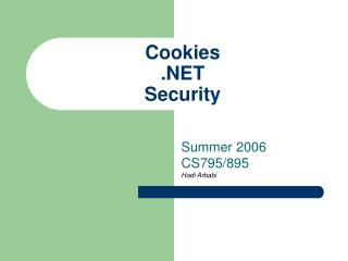 Cookies .NET Security
