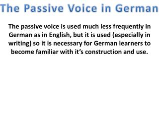 The Passive Voice in German
