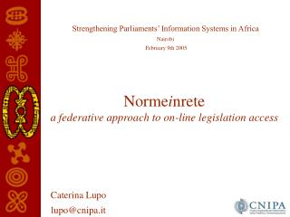 Norme i nrete a federative approach to on-line legislation access