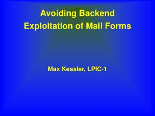 Avoiding Backend Exploitation of Mail Forms