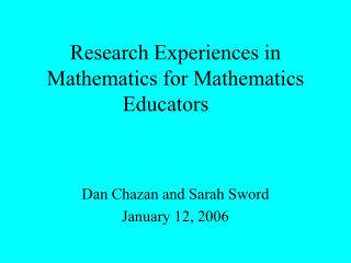 Research Experiences in Mathematics for Mathematics Educators