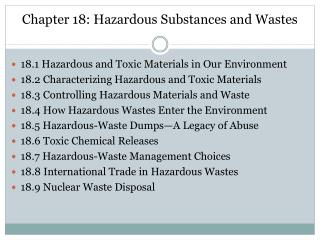 Chapter 18: Hazardous Substances and Wastes