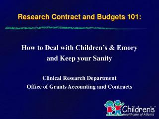 Research Contract and Budgets 101: