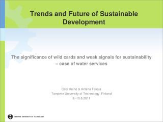 Trends and Future of Sustainable Development