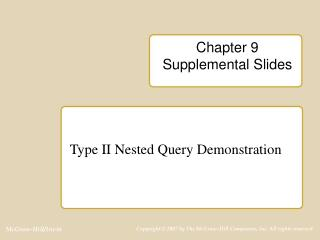 Chapter 9 Supplemental Slides