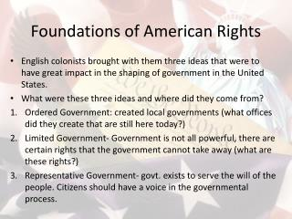 Foundations of American Rights