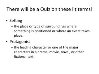 There will be a Quiz on these lit terms!