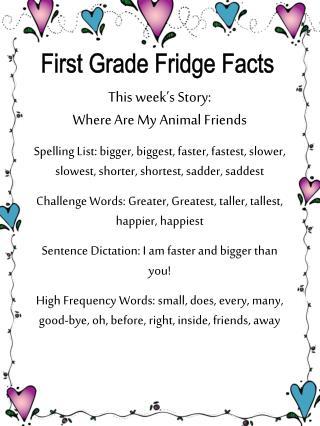 First Grade Fridge Facts