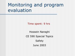 Monitoring and program evaluation