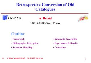 Retrospective Conversion of Old  Catalogues