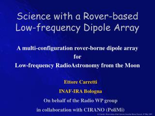 Science with a Rover-based Low-frequency Dipole Array