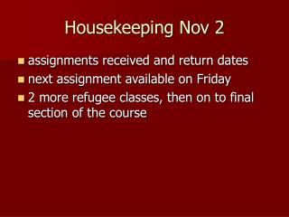 Housekeeping Nov 2