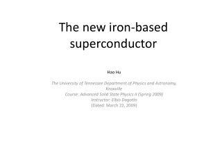 The new iron-based superconductor