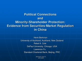 Political Connections  and  Minority-Shareholder Protection:  Evidence from Securities-Market Regulation  in China