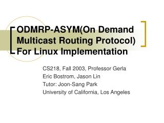 ODMRP-ASYM(On Demand Multicast Routing Protocol) For Linux Implementation