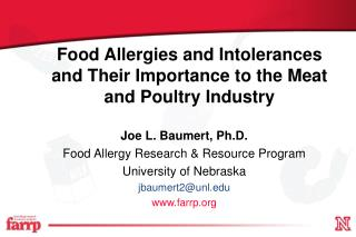 Food Allergies and Intolerances and Their Importance to the Meat and Poultry Industry