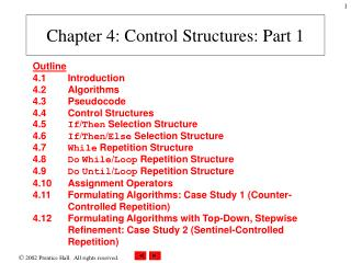 Chapter 4 : Control Structures: Part 1