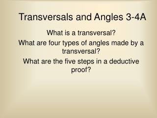 Transversals and Angles 3-4A