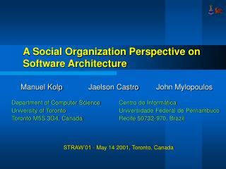 A Social Organization Perspective on Software Architecture