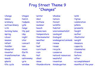 "Frog Street  Theme  9 ""Changes"""