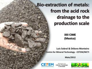 Bio-extraction of metals:  from the acid rock  drainage to the  production scale