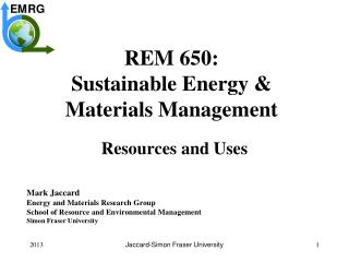 REM 650: Sustainable Energy & Materials Management