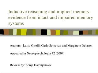 Inductive reasoning and implicit memory: evidence from intact and impaired memory systems