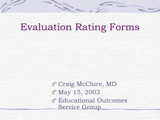 Evaluation Rating Forms